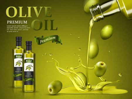 Illustration for olive oil ad and olive oil pouring down, 3d illustration - Royalty Free Image