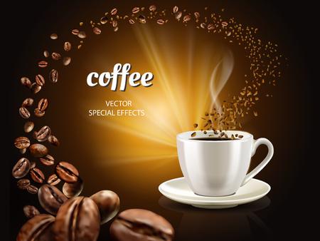 Ilustración de Instant coffee concept illustration with cup filled coffee and countless coffee beans, 3d illustration - Imagen libre de derechos