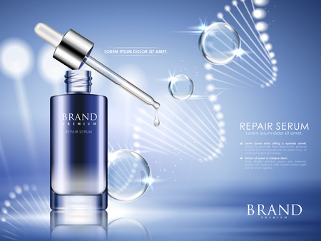 Illustration pour Blue bottle contained with repair serum with helical structure and water drops, 3d illustration - image libre de droit