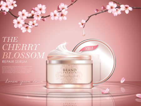 Illustration pour Graceful cherry blossom cosmetic ad, cream bottle upon water surface, sakura branches with dripped water in 3d illustration - image libre de droit