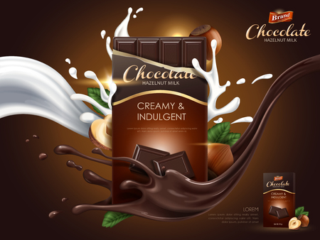 Illustration for Hazelnut chocolate ad with milk and cocoa flow elements, brown background, 3d illustration - Royalty Free Image
