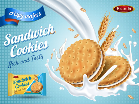 Ilustración de Milk flavor sandwich cookies, isolated light blue background, 3d illustration - Imagen libre de derechos