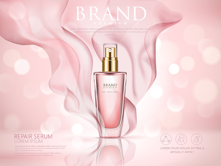 Ilustración de Repair serum ad, pink bokeh background with soft pink chiffon, 3d illustration - Imagen libre de derechos