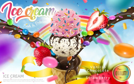 Illustration pour Colorful ice cream cone ads, rainbow jimmies, chocolate and strawberry toppings floating in the blue sky, 3d illustration for summer - image libre de droit