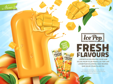 Illustration pour Fresh mango ice pop ads, sliced mango hit in popsicle isolated on sunshine background in 3d illustration, summer style - image libre de droit