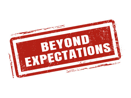 Ilustración de beyond expectations in red stamp style, stamped on white background - Imagen libre de derechos