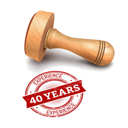 Illustration pour illustration of wooden round stamp with 40 years experience text - image libre de droit