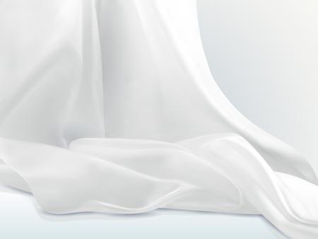 Illustration pour Elegant white satin, soft cloth textile design element in 3d illustration - image libre de droit
