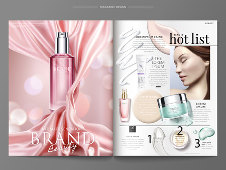 Ilustración de Cosmetic magazine template, elegant product ads with pink satin and top view of bottles with texture in 3d illustration - Imagen libre de derechos