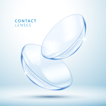 Illustration pour Contact lenses template, clear and close up look at contact lens in 3d illustration - image libre de droit