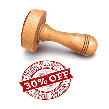 Illustration pour illustration of wooden round stamp with 30 percent off text - image libre de droit