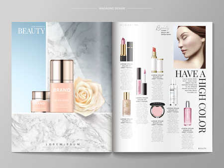 Ilustración de Cosmetic magazine template, foundations placed on marble wall, products listed on the right side, 3d illustration - Imagen libre de derechos