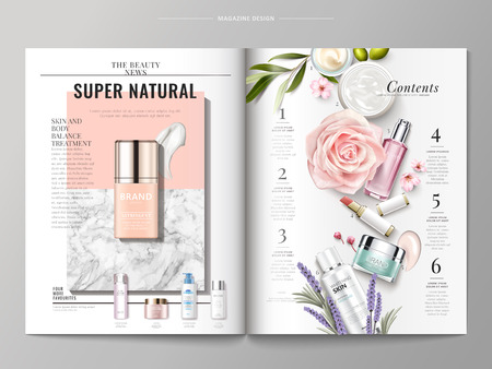 Ilustración de Cosmetic magazine template, top view of container and cream texture isolated on marble and geometric background, products listed on the right side, 3d illustration - Imagen libre de derechos