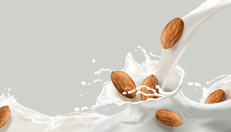 Ilustración de Milk splashing effect, milk pouring down with almond in 3d illustration for design uses - Imagen libre de derechos