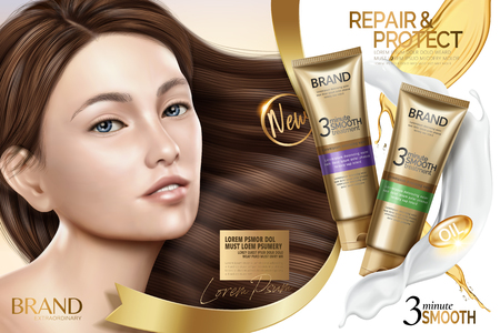 Ilustración de Hair smooth treatment ad, hair repair products with charming model with glossy hair in 3d illustration - Imagen libre de derechos