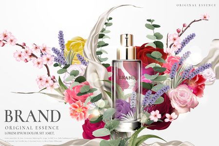 Illustrazione per Romantic essence ads, transparent glass container with colorful flower ceremony design in 3d illustration - Immagini Royalty Free