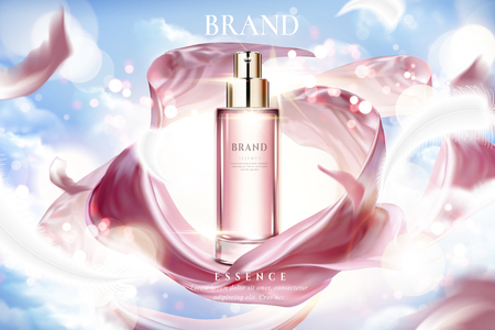 Illustration pour Cosmetic essence ads, exquisite container with smooth pink satin on lighting blue sky in 3d illustration - image libre de droit