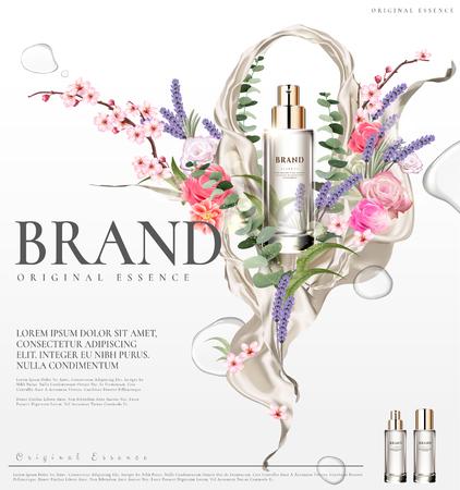 Illustration pour Romantic essence ads, transparent glass container with colorful flower ceremony design in 3d illustration - image libre de droit