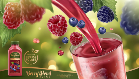 Illustration pour Berry blend juice with fresh fruits floating in the air and liquid pouring into a glass cup in 3d illustration, glittering bokeh background. - image libre de droit