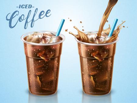 Ilustración de Cold brewed coffee takeaway cup with liquid pouring down into container in 3d illustration, blue background - Imagen libre de derechos