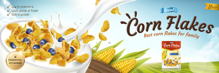 Illustration pour Delicious corn flakes ad with milk pouring into bowl in 3d illustration, green bokeh field background - image libre de droit