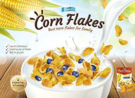 Illustration pour Delicious corn flakes ad with milk pouring into bowl in 3d illustration, glitter bokeh background - image libre de droit