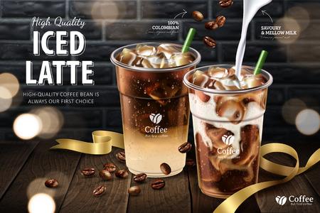 Ilustración de Iced latte in takeaway cup on wooden plank and grey brick wall background, 3d illustration - Imagen libre de derechos