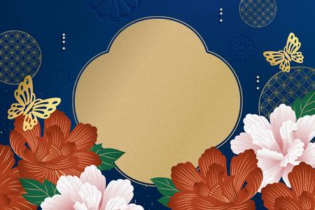 Illustration pour Elegant peony flowers garden with butterflies on blue background - image libre de droit