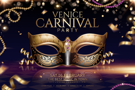 Ilustración de Venice carnival glamours design with beautiful mask in 3d illustration on sparkling particle background - Imagen libre de derechos