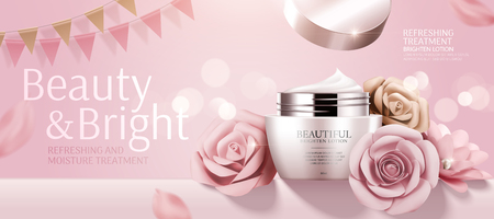 Illustration for Romantic cosmetic cream banner ads with paper roses on bokeh pink background in 3d illustration - Royalty Free Image