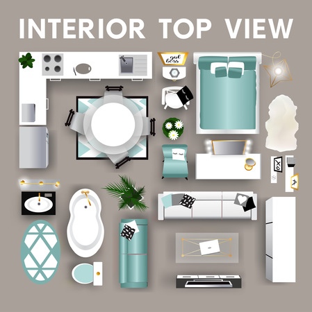 Illustration pour Interior top view. Set of isolated realistic interior icon. Vector illustration - image libre de droit