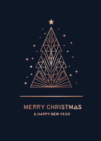 Illustration for Merry Christmas and Happy New Year rose gold greeting card. Minimalistic christmas card on a navy blue background. Linear Christmas tree with stars and snowflakes. Vector illustration - Royalty Free Image