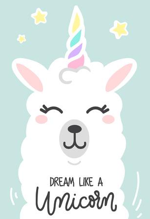 Ilustración de Dream like a unicorn inspirational poster with llama and stars. Hand drawn cute poster with lettering. vector illustration. - Imagen libre de derechos