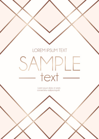 Illustration pour Geometric rose gold design template with blush pink and white abstract shapes. Modern design template for wedding invitation, greeting card, anniversary.  Vector illustration. - image libre de droit