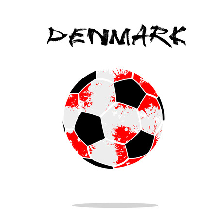 Illustration pour Abstract soccer ball painted in the colors of the Denmark flag. Vector illustration - image libre de droit