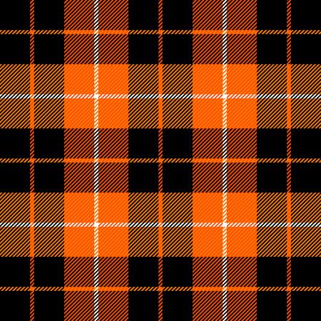Ilustración de Halloween Tartan plaid. Scottish pattern in orange, black, gray and white cage. Scottish cage. Traditional Scottish checkered background. Seamless fabric texture. Vector illustration - Imagen libre de derechos