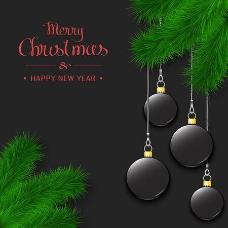 Marry Christmas and Happy New Year. Hockey pucks as a Christmas decorations hanging on a Christmas tree branch. Design pattern for greeting card, banner, poster, flyer, invitation. Vector illustration