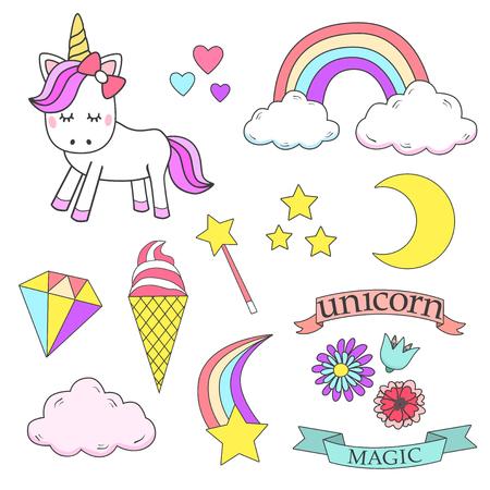 Foto für Unicorn magic design element set - Lizenzfreies Bild