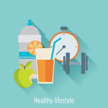 Ilustración de Healthy lifestyle flat illustration. Food, water and sport - Imagen libre de derechos