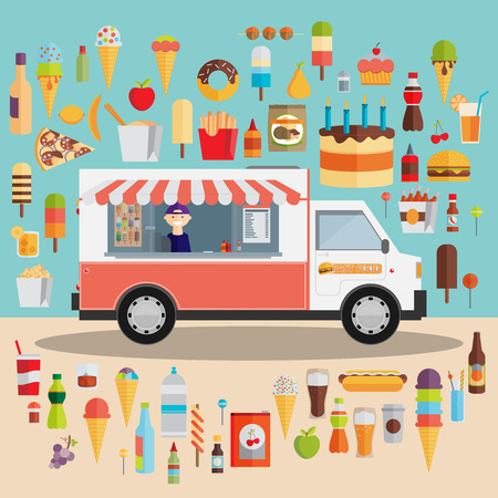Illustrazione per Flat design style modern vector illustration icons set of wagon full of tasty summer food, meals, drinks and fruits. Isolated on stylish color background - Immagini Royalty Free