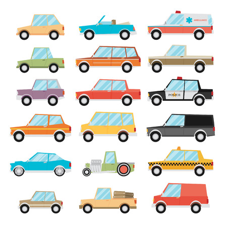 Ilustración de Set of cartoon cars. Flat vector. - Imagen libre de derechos