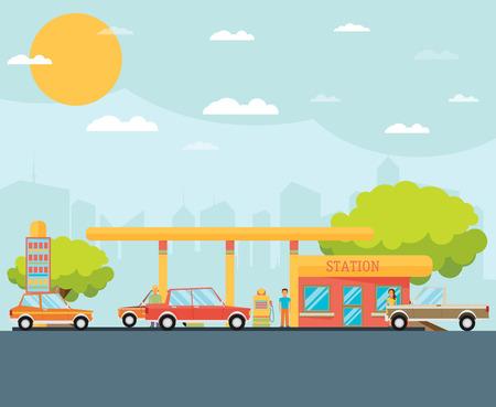 Illustration pour Gas station vector illustration - image libre de droit