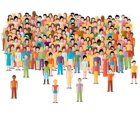 Illustrazione per flat illustration of male community with a crowd of guys and men - Immagini Royalty Free