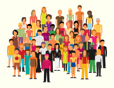 Illustration for Flat illustration of society members with a large group of men and women - Royalty Free Image