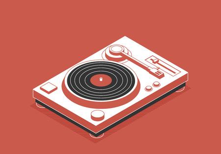 Illustration pour DJ deck. Isometric flat vinyl player - image libre de droit