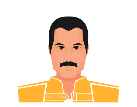 Illustration for Flat vector famous rock musician Freddie Mercury in yellow jacket. Wembley Stadium, July 12 1986 - Royalty Free Image