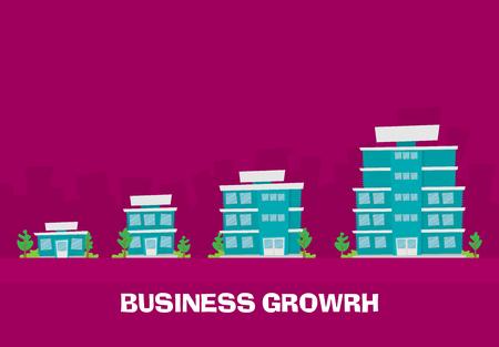 Ilustración de Growth of business. Buildings of company small, middle and big. Flat vector. - Imagen libre de derechos