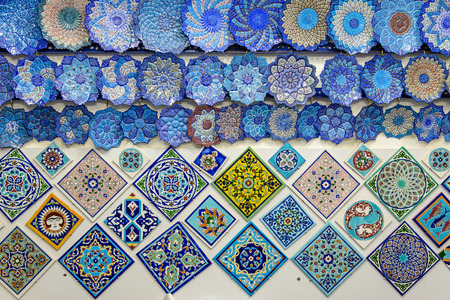 glazed tiles and iranian souvenirs in the Bazaar of Isfahan
