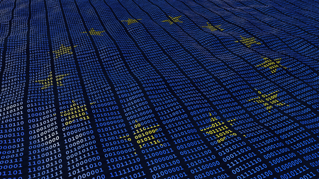 Photo pour European Union Data Protection bits and bytes in waving pattern with EU stars - image libre de droit