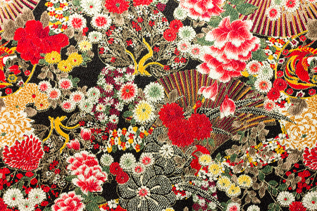Foto de Photo of Asian flower pattern fabric - Imagen libre de derechos
